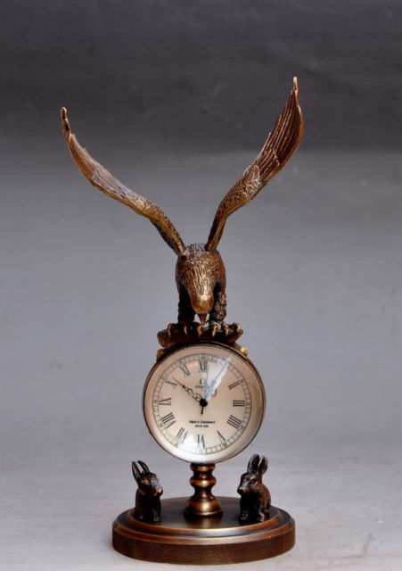 Copper Brass craft Chinese Old Collectible Decorated Old Brass Carved Eagle Mechanical Table Clock Watches decoration BRASS fac