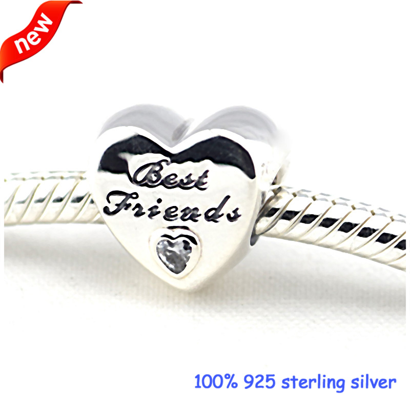 93cf043cf ... canada fits pandora bracelets friendship heart silver beads with cz 100 925  sterling silver charms diy