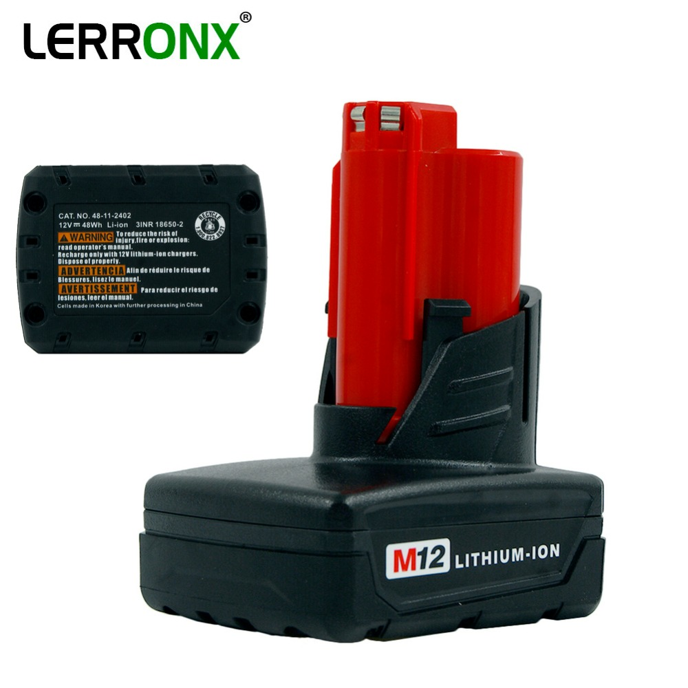 High Capacity 4000mAh 12V Li-ion M12 replacement rechargeable battery for Milwaukee Power Tools 48-11-2401 48-11-2402 C12 BHigh Capacity 4000mAh 12V Li-ion M12 replacement rechargeable battery for Milwaukee Power Tools 48-11-2401 48-11-2402 C12 B