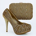 Fashion Italian Shoe With Matching Bag Set With Stones Gold Color African Women Shoe And Bag To Match For Prom 1308-L66