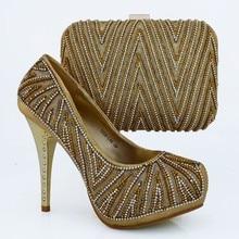Mode Italienischen Schuh Mit Passender Tasche Mit Steinen Gold farbe Afrikanische Frauen Schuh-Und Taschen Für Prom 1308-L66