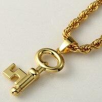 Hip Hop Fashion Halskette Iced Out Gelbes Gold Füllte Herren Anhänger Seil Kette
