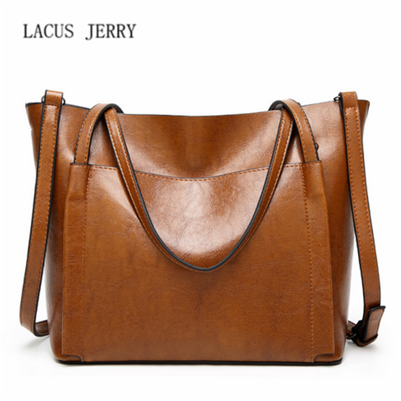 LACUS JERRY 2017 Woman Fashion Tote Handlebag Bags Ladies Oil Leather Large Capacity Shoulder Bag Retro Trend New Crossbody Bag 2017 new european and american large capacity foreign trade ladies package simple retro handbag fashion trend tote shoulder bag