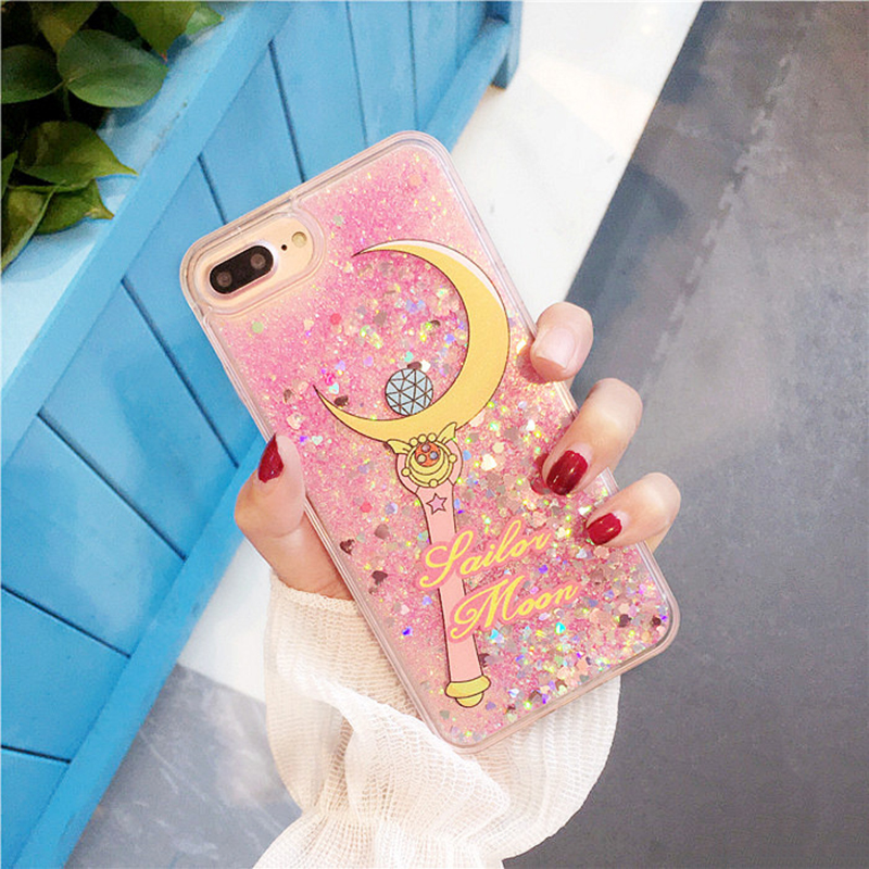 Sailor Moon Case for iPhone 7 Case Transparent Glitter Fundas for iPhone 7plus Phone Case 8 8Plus 6s 6 6plus Liquid Quicksand