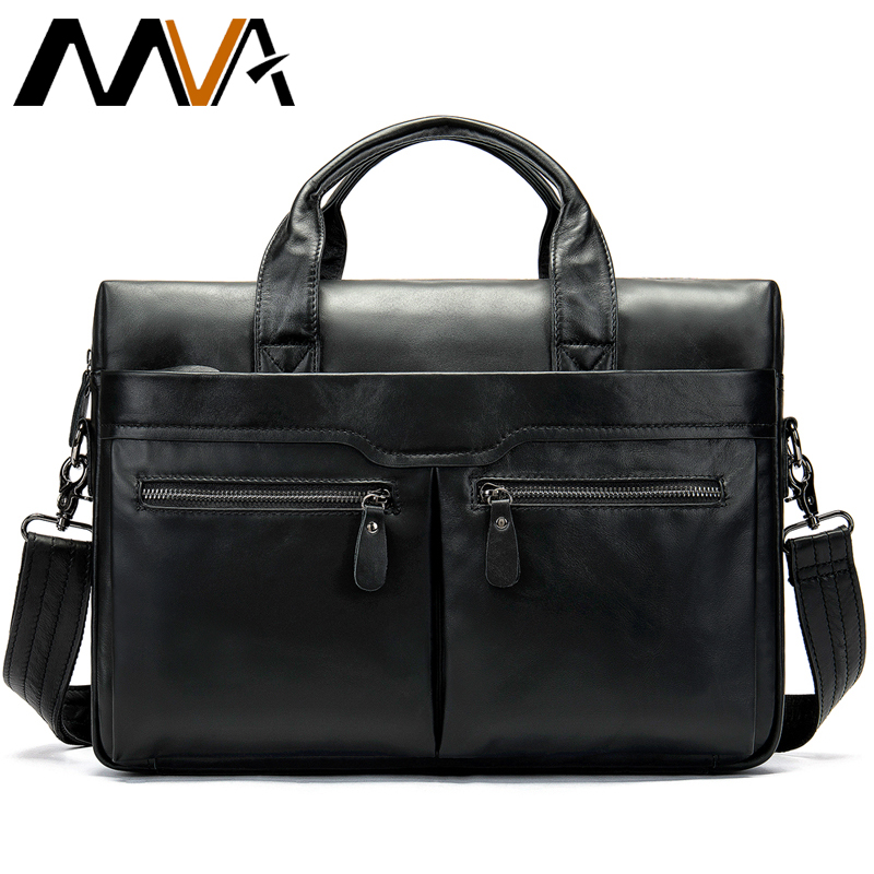 Luxury Vintage Briefcases Messenger Male Leather Business Bag Genuine Leather Men's Briefcase Computer Shoulder Bag For Man 9005
