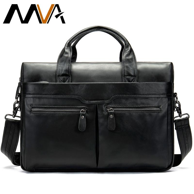Luxury Vintage Briefcases Messenger Male Leather Business Bag Genuine Leather Men's Briefcase Computer Shoulder Bag For Man 9005