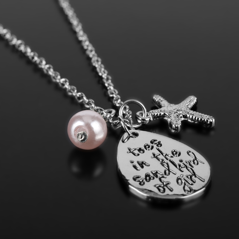 Toes in the sand kind of girl Engraved Water Drop Pendant Necklace With Starfish Charm Beach tarvel girl chain Jewelry