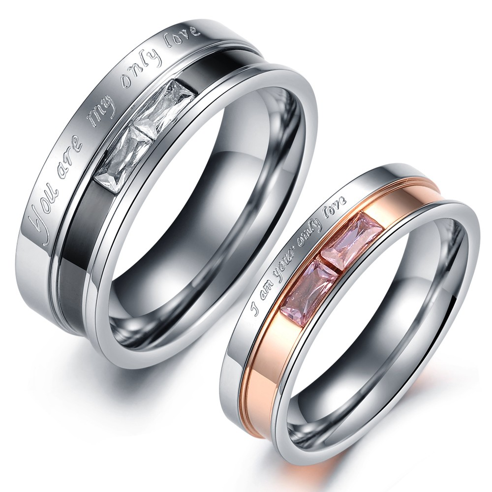 "Rectangle Crystal Couple Rings Stainless Steel ""You Love"" Wedding Finger Band Ring - winwinmotion store"