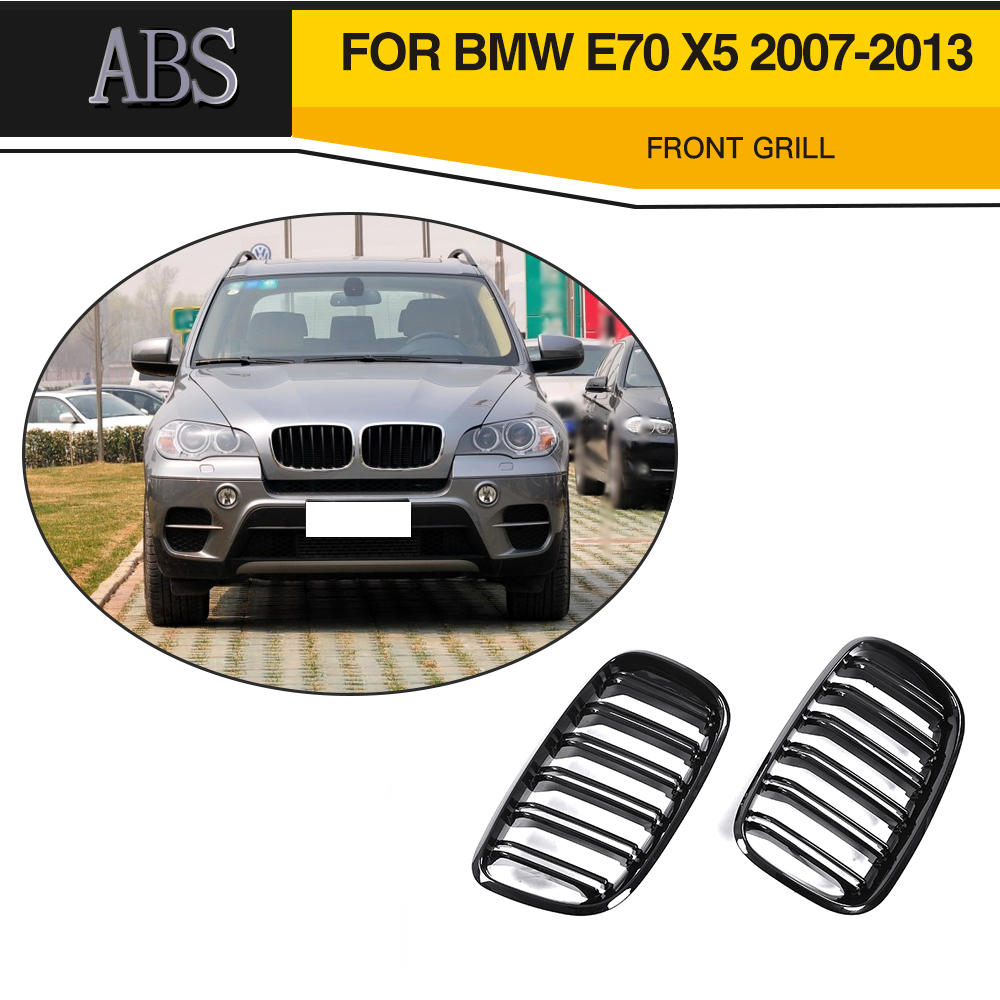 Front Bumper Grille For BMW E70 X5 SUV 4 Door 2007-2013 2PC Gloss Black Three Color Car Front Bumper Double Slat Grill 2007 bmw x5 spoiler