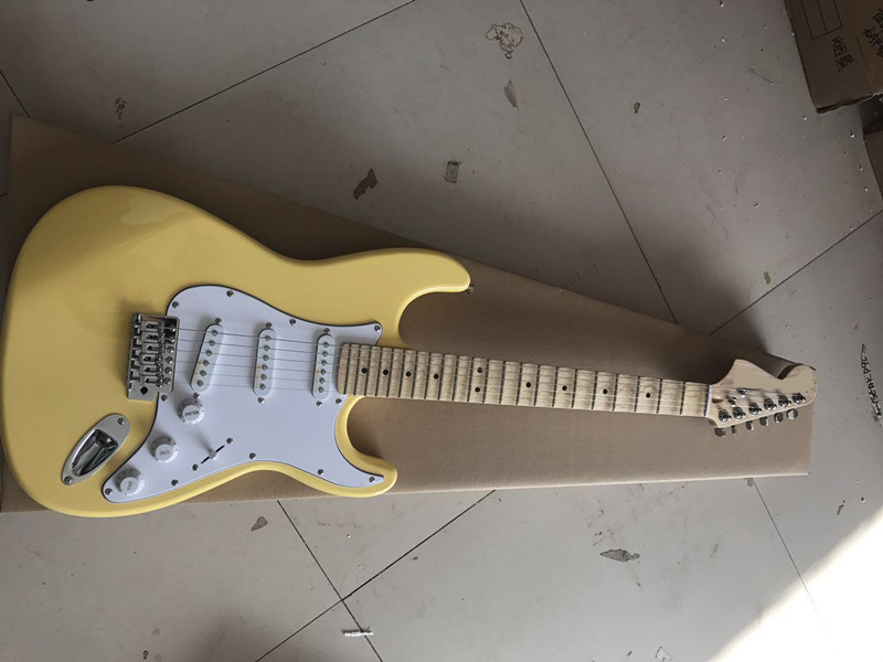 Vintage yellow cream Yngwie Malmsteen Scalloped maple fretboard Big Head ST 6 string electric guitar guitarra can customized  недорого