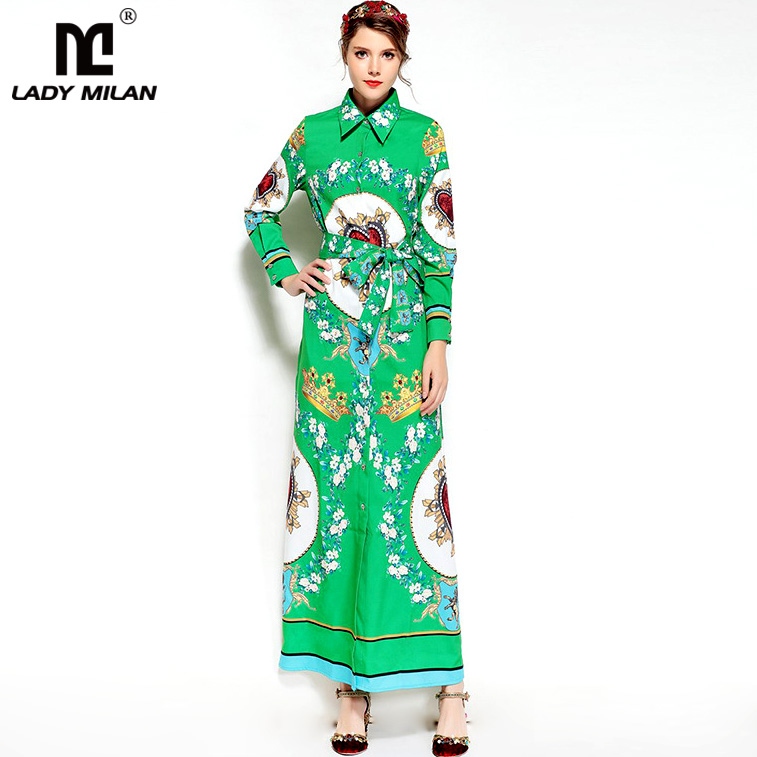 New Arrival Womens Turn Down Collar Long Sleeves Floral Printed Buttons Clouse Casual Long Dresses Fashion Designer Dresses
