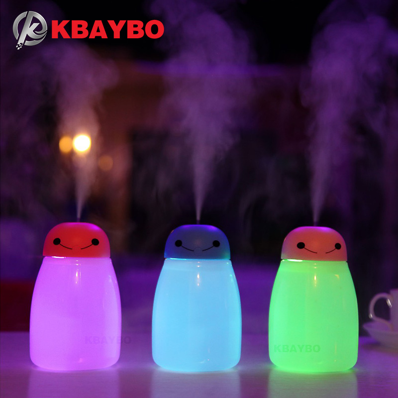 2017 NEW 400ml Air Humidifier Aroma Essential Oil Diffuser Aromatherapy USB Ultrasonic Mist Maker With 7 Color LED Night light crdc air humidifier ultrasonic 100ml aroma diffuser glass essential oil diffuser mist maker with 7 colors changing led light