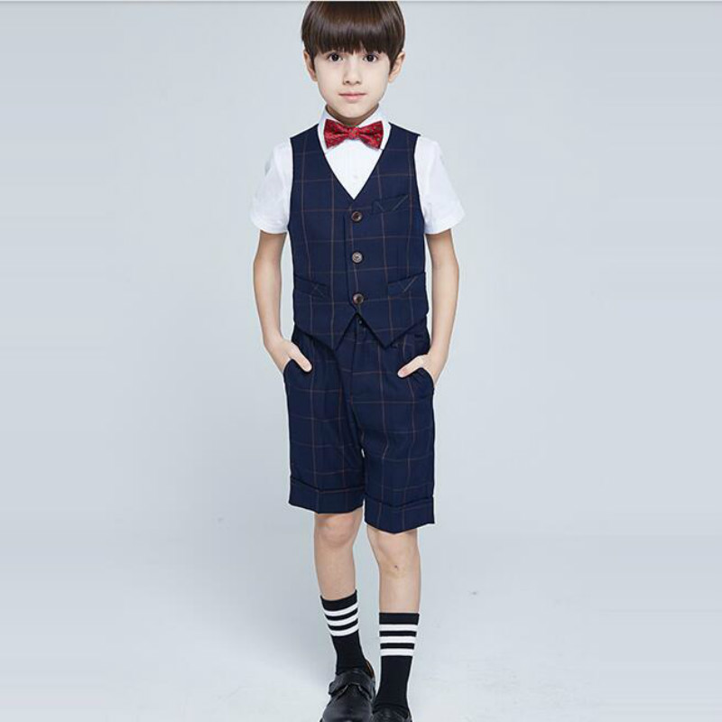 Good quality Baby boy Gents dress suit,short +vest + shirt +bow, wedding 4 pieces a set,Boys summer Suit Set,Children Clothes 2017 new pattern small children s garment baby twinset summer motion leisure time digital vest shorts basketball suit