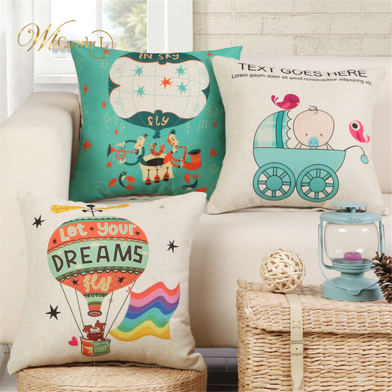 WL Candy L Dream Cushion Cover Beige Pillow Cases Cartoon Baby Hot Air Balloon Bedroom Sofa Car Decoration High Quality
