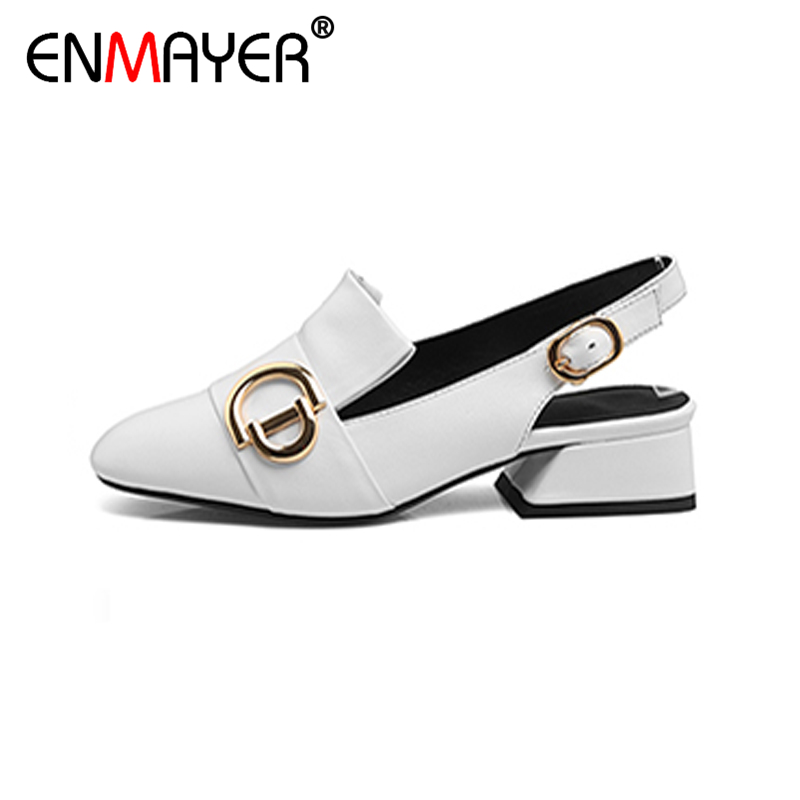 ФОТО  ENMAYER Chunky Heels Med Heels Slip-On Classic Black White Women Party Shoes Spring/Autumn Women Pumps for Wedding Office Shoes