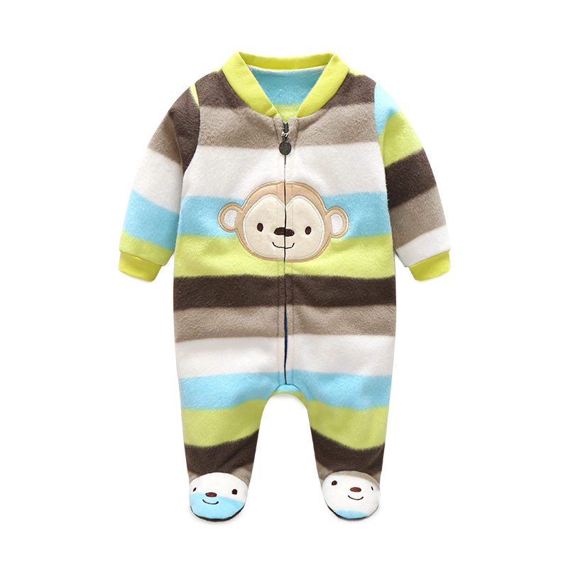 0-12M Baby Rompers Winter Warm Fleece Clothing Set for Boys Cartoon Monkey Infant Girls Clothes Newborn Overalls Baby Jumpsuit infant baby boys clothes casual unisex newborn baby rompers fleece stripe long sleeve hooded one piece clothing overalls gray