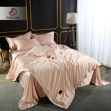 ParkShin Luxury Champagne Gold Bedding Set 100% Silk Home Textiles Soft Comfort Duvet Cover Silky Bed With Flat Sheet 4pcs
