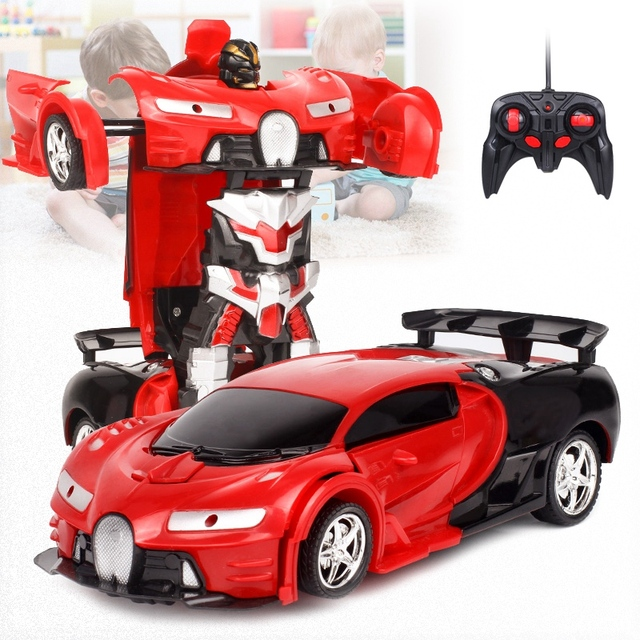 2 In 1 RC Car Sports Car Transformation Robots Models Remote Control Toy Kids(red)