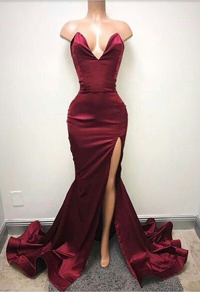 Burgundy 2019   Prom     Dresses   Mermaid V-neck Satin Slit Sexy Backless Party Maxys Long   Prom   Gown Evening   Dresses   Robe De Soiree