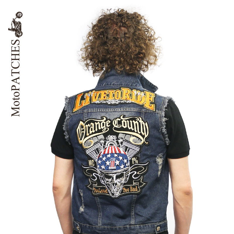 MC Harley Patch Quebec Canada Motorcycle Racing Patches Biker Skull Embroidered Back Patches For Jackets rysunek kolorowy motyle