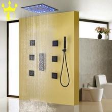 DISGOD Bath & Shower Set Accessories Temperature Sensitive LED Rainfall Head Matte Frosted Blacken Bathroom Faucet