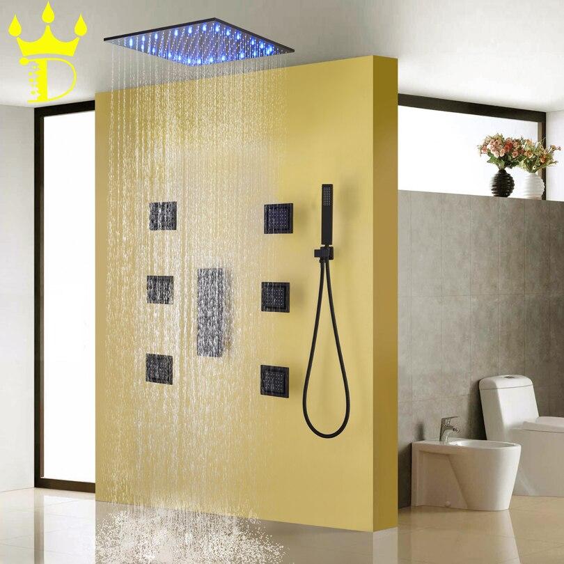 DISGOD Bath & Shower Set Acessórios LED Sensível À Temperatura Do Chuveiro Rainfall Cabeça Fosco Fosco Denegrir Torneira Do Chuveiro Do Banheiro