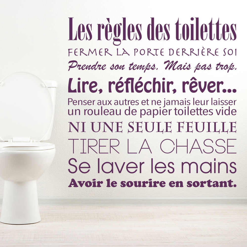 Toilet wc bathroom stickers french toilet rules vinyl wall sticker wall decals mural wall art wallpaper