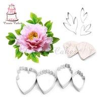 Peony Flower Leaf Decorating Set For Wedding Cake Decoration Petal Veiner Molds Stainess Steel Set Fondant