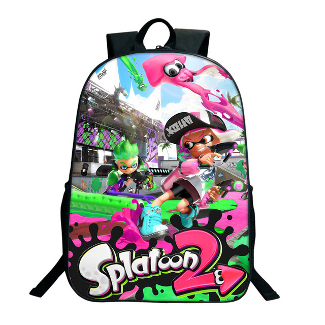 16 Inch Splatoon 2 Backpacks For Teenagers Casual Men Women's Travel Shoulder Bags Splatoon Bags For Children Kids Birthday Gift