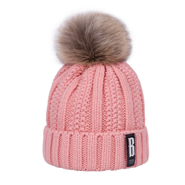 2018 new pom poms women 39 s winter hat fashion solid plus. Black Bedroom Furniture Sets. Home Design Ideas