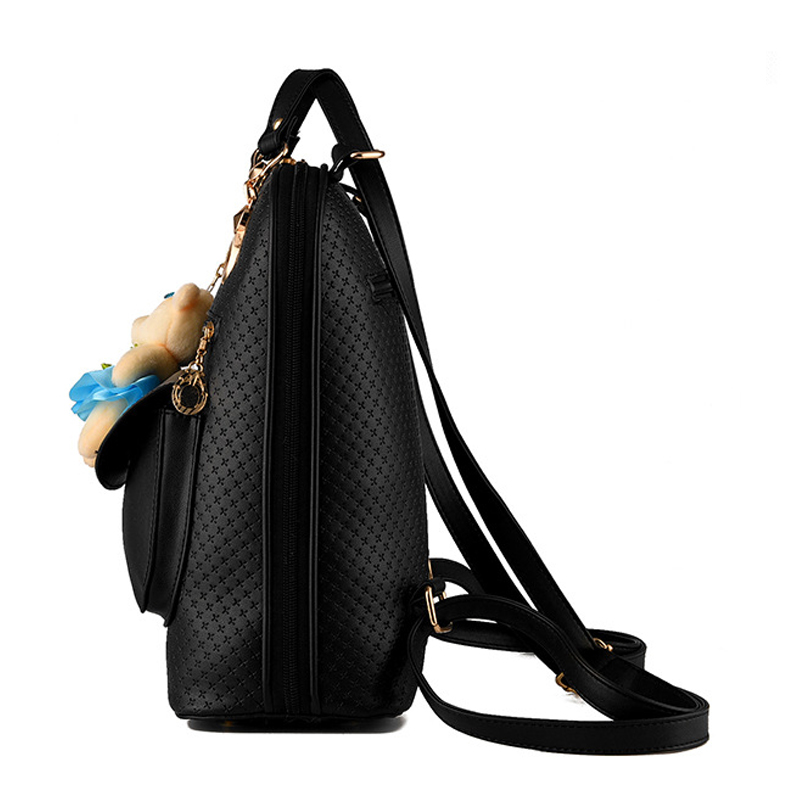 Solid Female Shoulder Bag Backpacks Korean Style Ladies Bakcpack With Bear Pendent Fashion Preppy School Bags Large Capacity