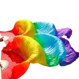 Image 2 - Varitas de bambú hechas a mano accesorios de baile abanico para danza del vientre seda Natural 1 pieza mano izquierda + 1 pieza mano derecha danza seda abanico rayas multicolor