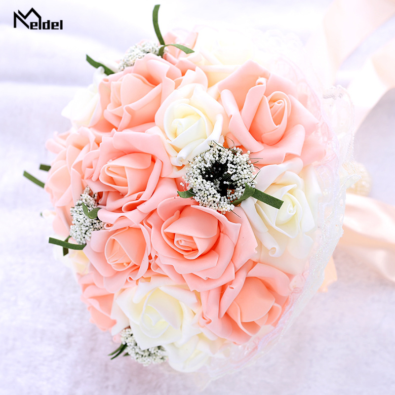 Meldel Bride Wedding Bouquet Bridesmaid Holding Flower Fake Pearl Artificial PE Rose Bouquet White Party Prom Wedding Supplies