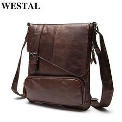 WESTAL Genuine Leather Men Messenger Bag Man Crossbody Shoulder Handbag Cowhide Leather Men Bags Male Casual Bag 8239