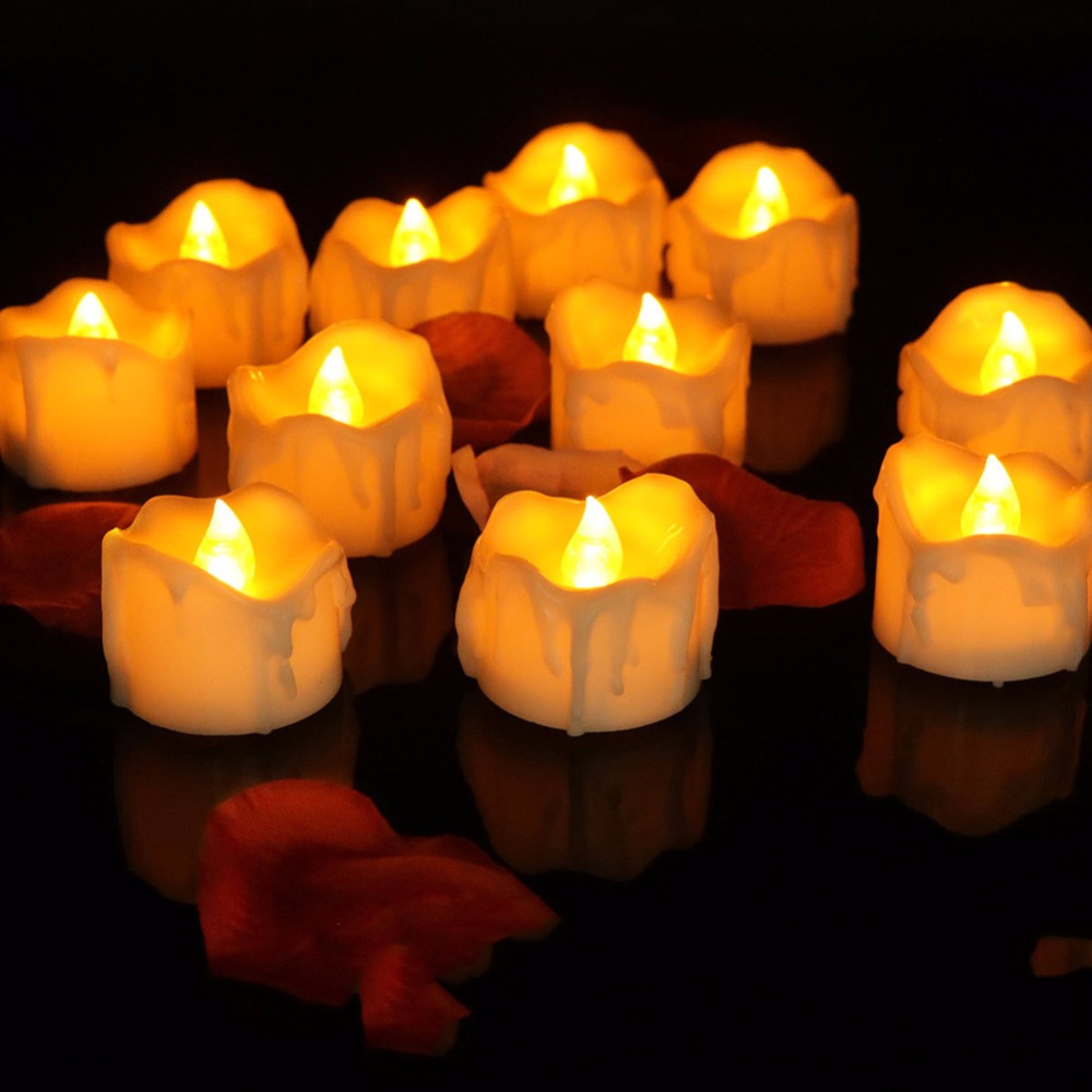 Timer decorative led candles,6 or 12 pieces flickering yellow battery electronic candles,timer tea lights,wedding candles