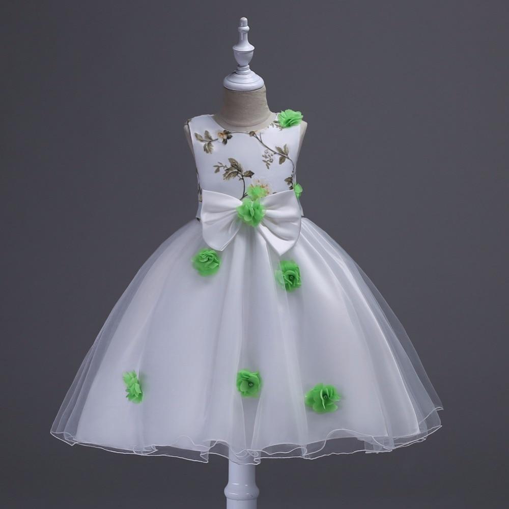 Hohe Qualität Multicolor Design Blumenmädchenkleider Hochzeit Ostern Junior Brautjungfer Weiß Wellung Prinzessin Mädchen Kleid Baby Kleidung in ...