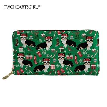 Twoheartsgirl New Fashion Women Wallets Long Style Multi-functional Coin Purse Christmas Corgi Prints Ladies Wallets With Zipper