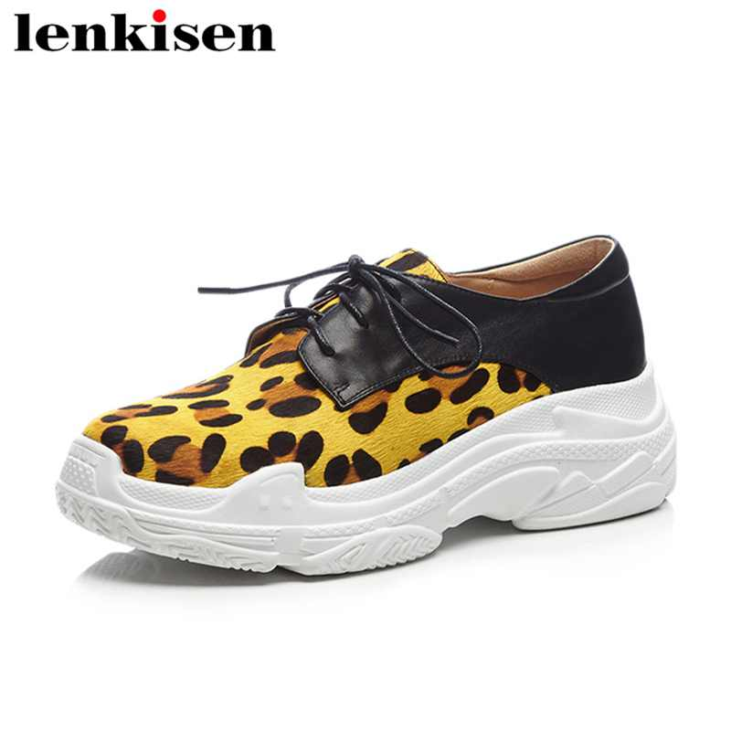Lenkisen new arrival leopard round toe lace up platform causal shoe high heels mixed colours runway women vulcanized shoes L16