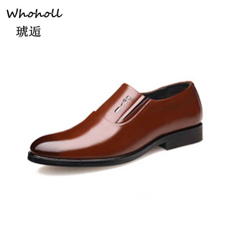 Whoholl Brand Elegant Oxford Shoes for Mens Shoes Large Sizes Men Formal Shoes Leather Men Dress Loafers Man Slip on Masculino