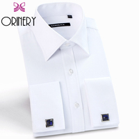 ORINERY Hot Sale Designer White French Cuff Dress Shirt Classical Long Sleeve Mens Shirt Slim Fit Brand Mens Dress With Cufflink
