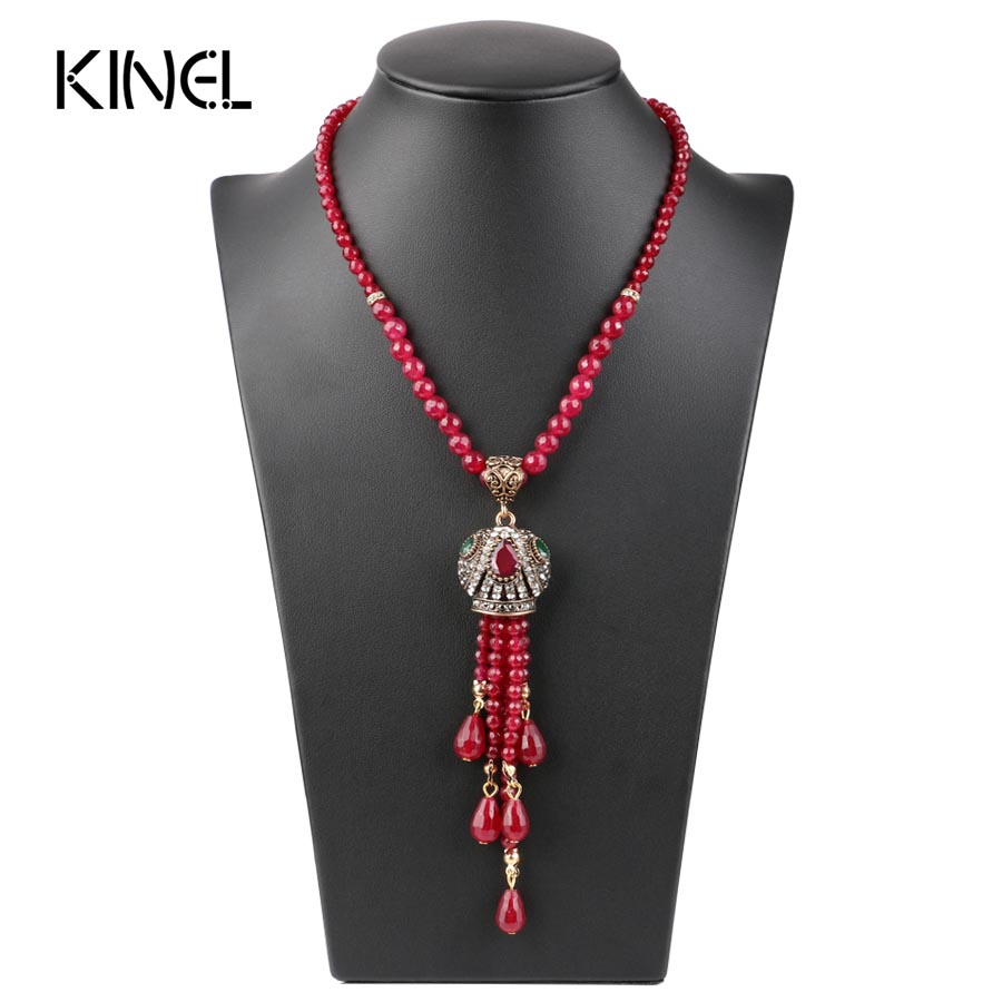 купить Luxury Vintage Long Tassel Pendant Necklace For Women Antique Gold Color Turkish Red Crystal Sweater Indian Bijoux недорого