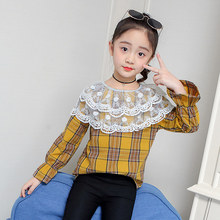 Kids Girls Casual Lace Collar Blouses & Shirts 2019 New Baby Girl Plaid Pullover Shirt Lantern Sleeve Blouse 4 5 7 9 11 13 Years girls plaid blouse 2019 spring autumn turn down collar teenager shirts cotton shirts casual clothes child kids long sleeve 4 13t