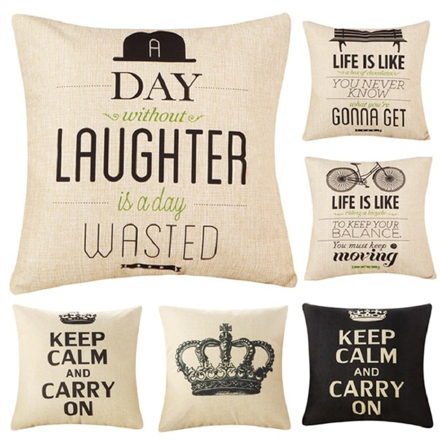 Fashion Letter Cushion No Inner Design English Words Polyester Home Decor  Sofa Car Seat Decorative Throw