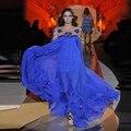 2016 Elegante Gasa Con Cuentas Largas del Azul Real de Zuhair Murad Vestidos de Noche de Manga Larga Vestidos Del Desfile Para Las Mujeres Vestido Vermelho
