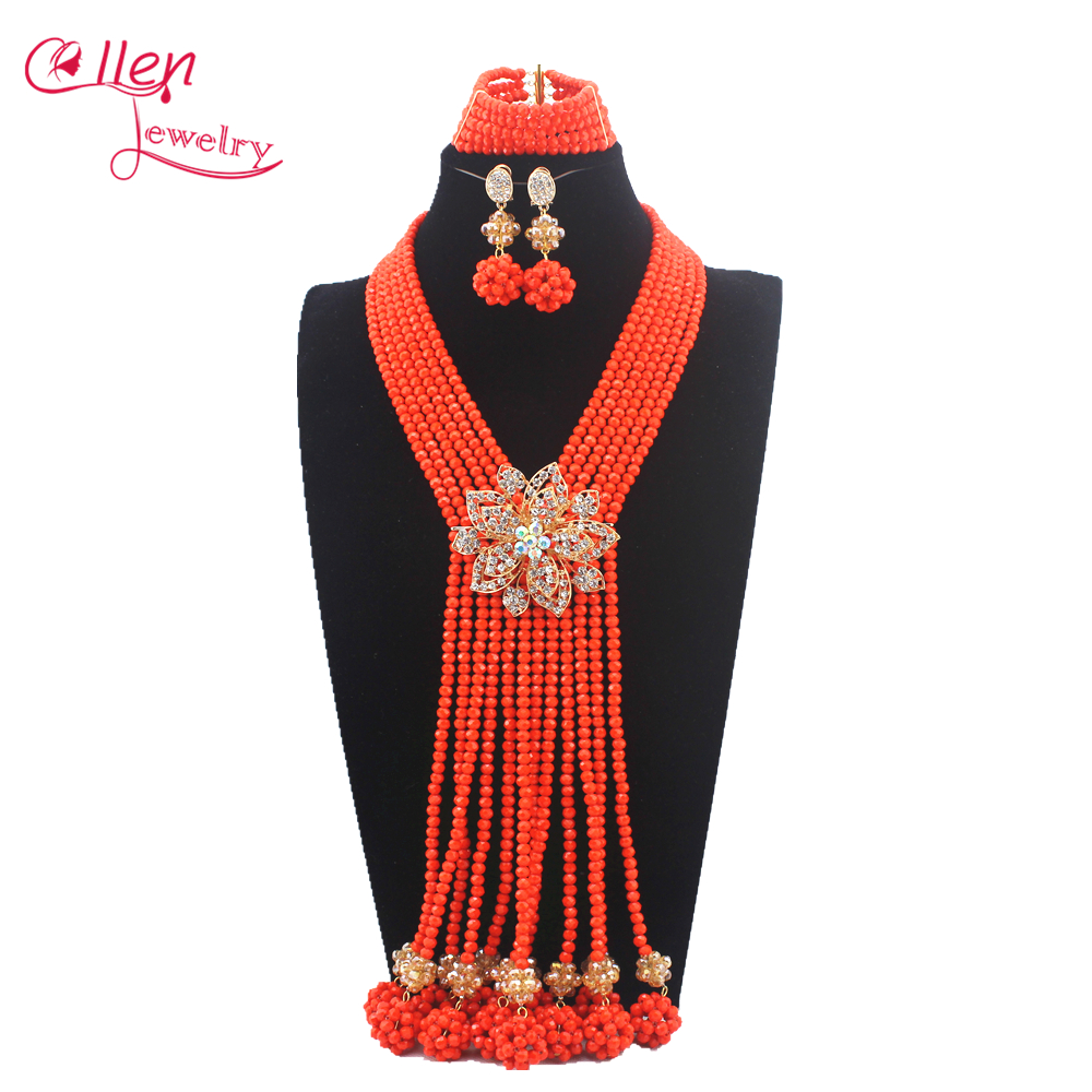Orange African nigerian Wedding bridal beads Jewelry Set African style Crystal beaded necklace women Jewelry Set W13581Orange African nigerian Wedding bridal beads Jewelry Set African style Crystal beaded necklace women Jewelry Set W13581