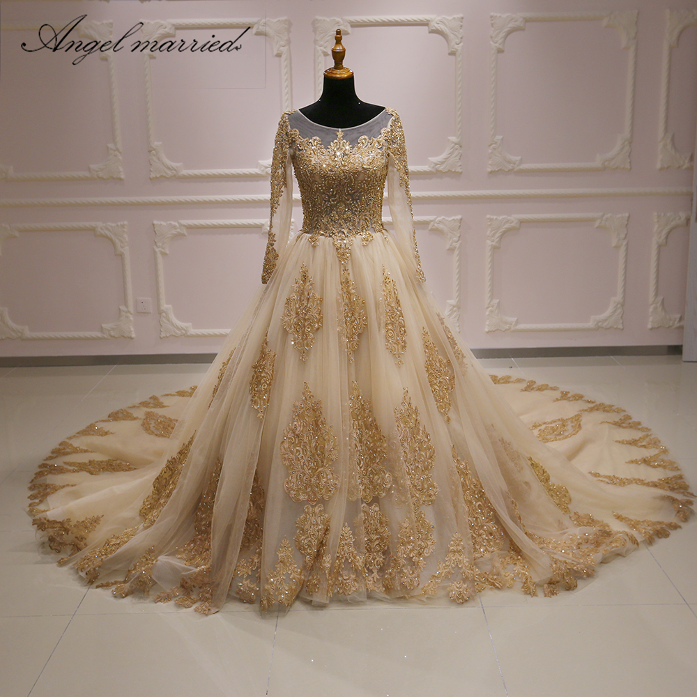 Champagne Lace Wedding Gown: Angel Married Wedding Dress Champagne Long Sleeve Bridal
