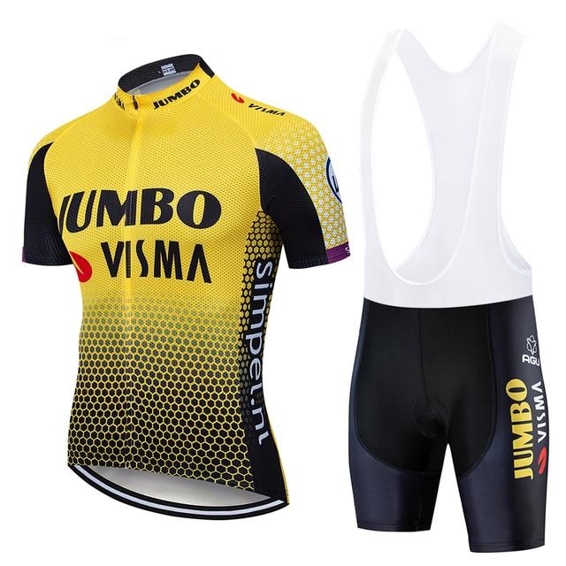 2019 Pro team jumbo visma bisiklet jersey seti erkek bisiklet maillot MTB Yarış ropa Ciclismo yaz hızlı kuru bisiklet bezi JEL pedi