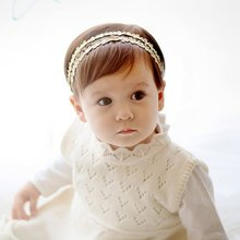 2017 Lovely Baby Girls Rhinestone Headband Hairband Double Flowers Floral Headbands Hair Accessories Hot 3M-12M P2
