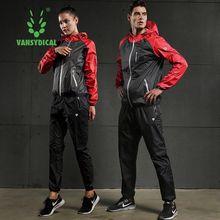 01a9d4003259a Conjuntos de correr de sudor caliente para Mujeres Hombres ropa de gimnasio entrenamiento  Jogging trajes ropa deportiva 2 piezas.