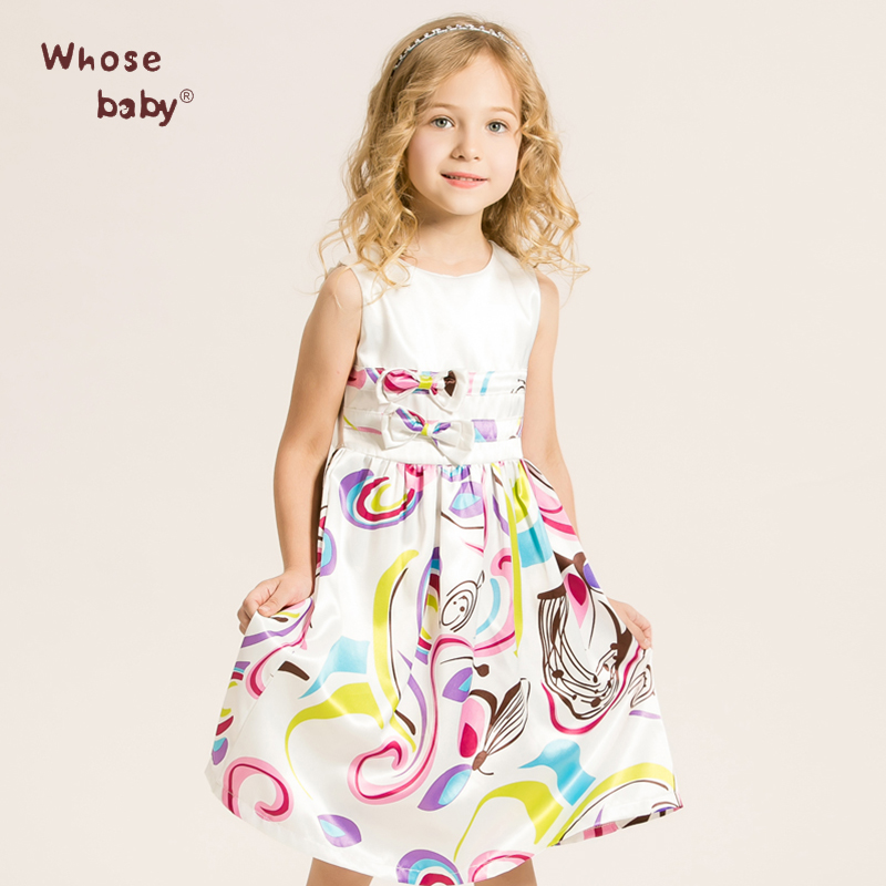 2016 Girl Birthday Spring Summer Printing Dress Kids 3-7Y Dresses For Girls Party Children Clothes Vestido Disfraz De Rapunzel